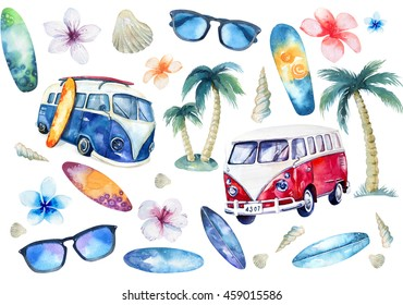 Hand drawn watercolor ocean surfing set. Beach holiday tropical travel adventure. Island with palm, retro car, wagon, bus, surfboard, sunglasse, shell, flower hibiscus. Watercolour sea sport activity.