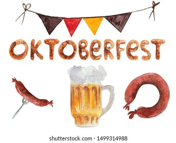 Hand drawn watercolor oktoberfest set, mugs, sausages, wurst, wheat and flags, hand drawn illustration