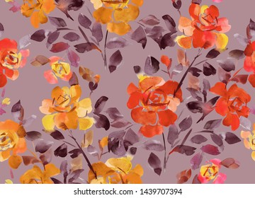 Hand drawn watercolor opulent roses. Floral seamless pattern. Decorative background with large blossom flowers for fashion design, textile, fabric, clothes, dress, wrapping and any surface.