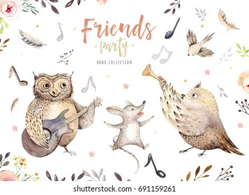 Hand drawn watercolor owl, mouse and bird dancing animals. Boho nursery decoration illustrations, music trendy art. Perfect for fabric design. Aloha collection.