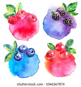 Hand drawn watercolor painted berries banners on white background. Illustration of raspberries, blackberries, blueberries, cranberries for packaging design