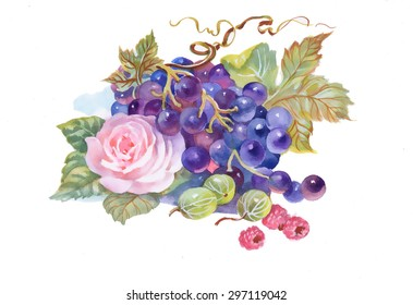 Hand drawn watercolor painting of grape and flower