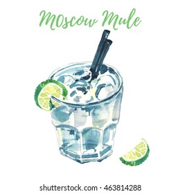 Hand drawn watercolor painting. Illustration of Moscow Mule cocktail also known as a Vodka buck, with two straws and a slice of lime. Isolated on white background. Ideal for menu design
