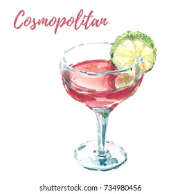 Hand drawn watercolor painting. Illustration of vodka based Cosmopolitan cocktail also known as Cosmo, with a slice of lime. Isolated on white background. Ideal for menu design