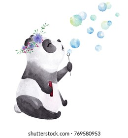 Hand drawn watercolor panda blowing bubbles