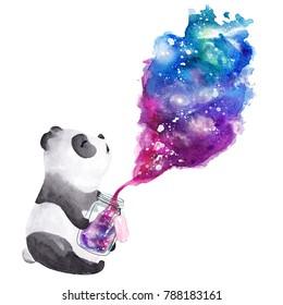 Hand drawn watercolor panda holding  galaxy glass jar