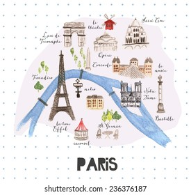 Hand drawn watercolor Paris map with famous landmarks