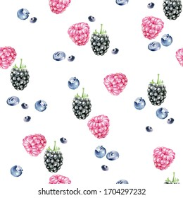 Hand drawn watercolor pattern with berries on white background