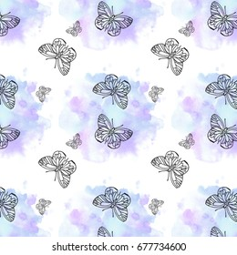 Hand drawn watercolor pattern with butterflies
