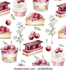 Hand drawn watercolor pattern with cherry, blooming cherry branch, cupcake, cherry pie, desserts.Seamless pattern for wallpaper, wrapping paper.