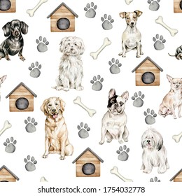 Hand drawn watercolor pattern with dogs,paw, dog house, bone on white background.Animal ornament