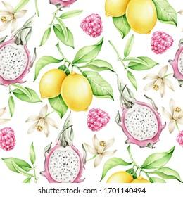Hand drawn watercolor pattern with pitahaya,lemon,raspberry.Tropical fruit pattern