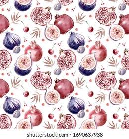 Hand drawn watercolor pattern with pomegranate,cherry,fig,cherry.Wallpaper pattern design
