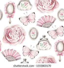 Hand drawn watercolor pattern with vintage objects: fan, purse, mirror, locket, butterfly, peony.Pink concept.Can be used for wallpaper and wrapping paper.Retro concept.
