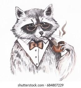 Hand drawn watercolor raccoon