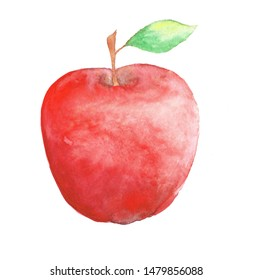 hand drawn watercolor red apple with green  leaf isolated on white background