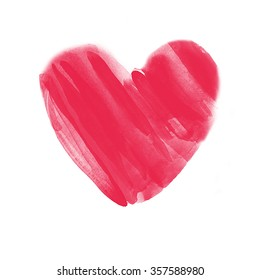 Hand drawn watercolor red heart on white background for posters, cards, flyers, T-shirt print and web-use. Ideally for Valentine's Day design.