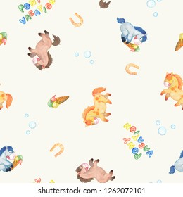 Hand drawn watercolor repeatable pattern with cartoon style sorrel, grey, and bay ponies, horseshoes, ice cream, bubbles, and lettering Pony Vacation on white background