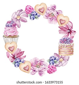 Hand drawn watercolor round frame with cupcake, cake,cookies,berries and flowers.Template for invitations, cards, birthday, wedding, greeting cards.Wreath with sweets.Can be used as logo