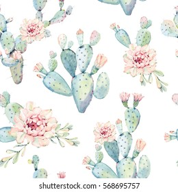 Hand drawn watercolor saguaro cactus seamless pattern. It's perfect for textile design, digital paper, wrapping paper, wallpaper, background.