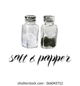 Hand drawn watercolor salt and pepper