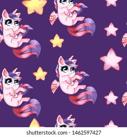 Hand drawn watercolor seamless background with cute unicorns, fabulous seamless background, cute baby unicorns and ponies. Perfect for fabric, Wallpaper, wrapping paper or baby room decor.