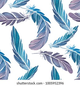 Hand drawn watercolor seamless pattern with blue feathers. Boho style, vintage, art nouveau
