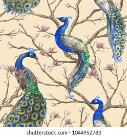 Hand drawn watercolor seamless pattern with wild peacocks and magnolia floral branches. Chinoserie style.