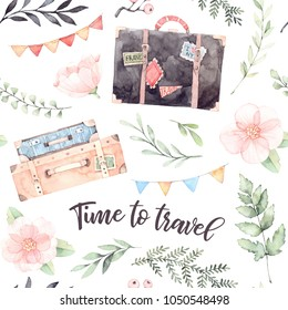 Hand drawn watercolor seamless pattern. Time to travel. Fashion suitcases with stickers, flowers, Lettering, garland with flags. Trip to World. Perfect for invitations, greeting cards, prints