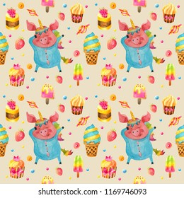 Hand drawn watercolor seamless pattern with piggy in unicorn suit.