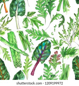 Hand drawn watercolor seamless pattern with salad leaf: oak leaf lettuce, curly endive salad, chard leaf, green asparagus stems and sliced celery stems on the white background.