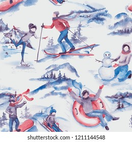 Hand drawn watercolor seamless pattern of winter activities. Repeated illustration of winter sport, vacation, games on the white background