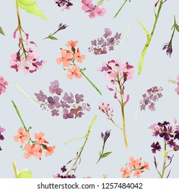 Hand drawn watercolor seamless pattern with field and meadow flowers and herbs on gray background