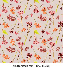 Hand drawn watercolor seamless pattern with field and meadow orange and red flowers and herbs on beige background