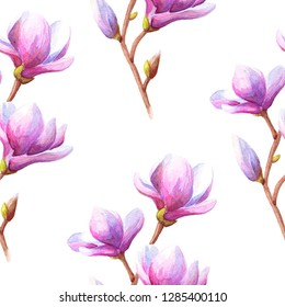 Hand drawn watercolor seamless pattern illustration of magnolia or tulip tree branch with pink flowers over white background.