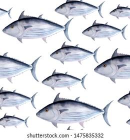 hand drawn watercolor seamless pattern of tuna skipjack fish for commercial fishing saltwater mackerel family known as balaya, aku, arctic bonito for food design labels packaging restaurant menu