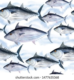hand drawn watercolor seamless pattern of tuna skipjack fish for commercial fishing saltwater mackerel family known as balaya, arctic bonito for food design labels packaging restaurant menu abstract