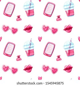 hand drawn watercolor seamless pattern or texture with pink smartphone, glossy lips, drink shake and heart shaped glasses on white background. Love concept and valentines day design elements