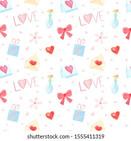 Hand drawn watercolor seamless pattern  with Valentine's day symbols. Cute pink colours. Valentines day theme on white background. Perfect for covers, textile, fabric, school supplies.