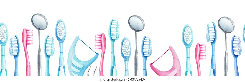 Hand drawn watercolor seamless pattern with toothbrushes, floss holgers,  dental mirrors on white background. Nice pattern for dental design.