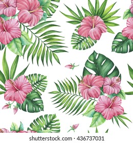 Hand drawn watercolor seamless pattern with tropical hibiscus flowers and exotic palm leaves. Very colorful background. Summer mood