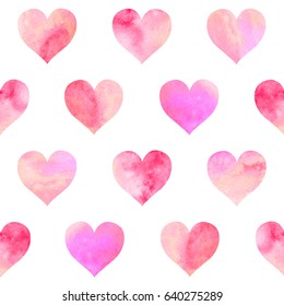 Hand drawn watercolor seamless pattern with multicolor pink hearts, Isolated on white background