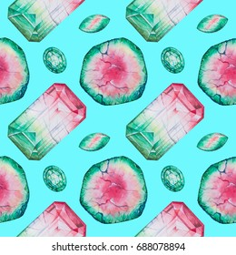 Hand drawn watercolor seamless pattern with Watermelon Tourmaline stones and crystals. Pink and green gemstones on turquoise blue background