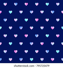 Hand drawn watercolor seamless pattern of multicolor hearts, isolated on blue background