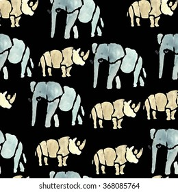 Hand drawn watercolor seamless pattern.African animals.Elephant, rhino.