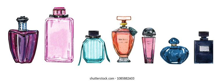 Hand drawn watercolor set of  different women perfume bottles on white background