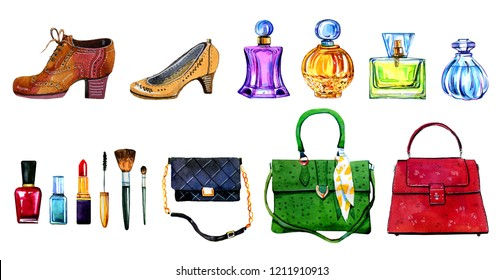 Hand drawn watercolor set of different women bags, shoes, perfume bottles and cosmetics on white background