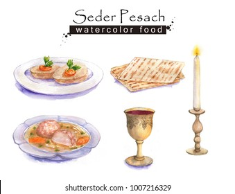 Hand drawn watercolor set of holiday Jewish food. Seder Pesach dishes: gefilte fish, matzah, wine, matzo balls soup. Passover dinner.