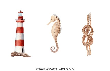 hand drawn watercolor set with lighthouse, knot, sea horse isolated on white background