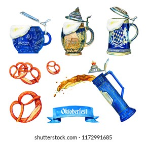 Hand drawn watercolor set for oktoberfest with different bavarian beer ceramic mugs, brezels ang flag isolated on white background